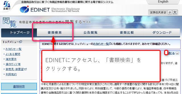 EDINETの使い方1